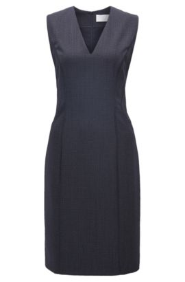 Square-Print Stretch Virgin Wool-Silk Sheath Dress | Dukani, Patterned