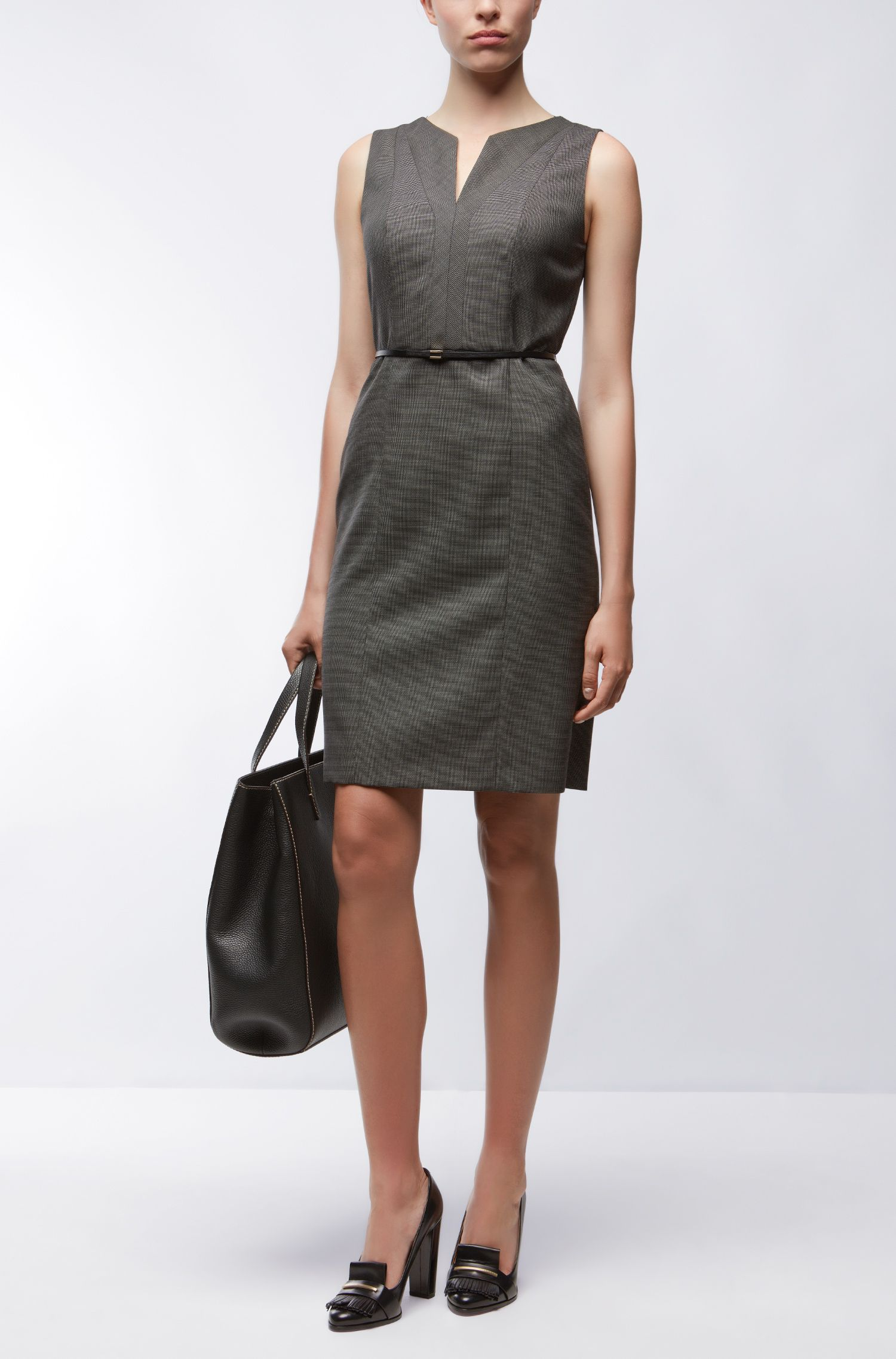 Stretch Virgin Wool Sheath Dress | Dalanda
