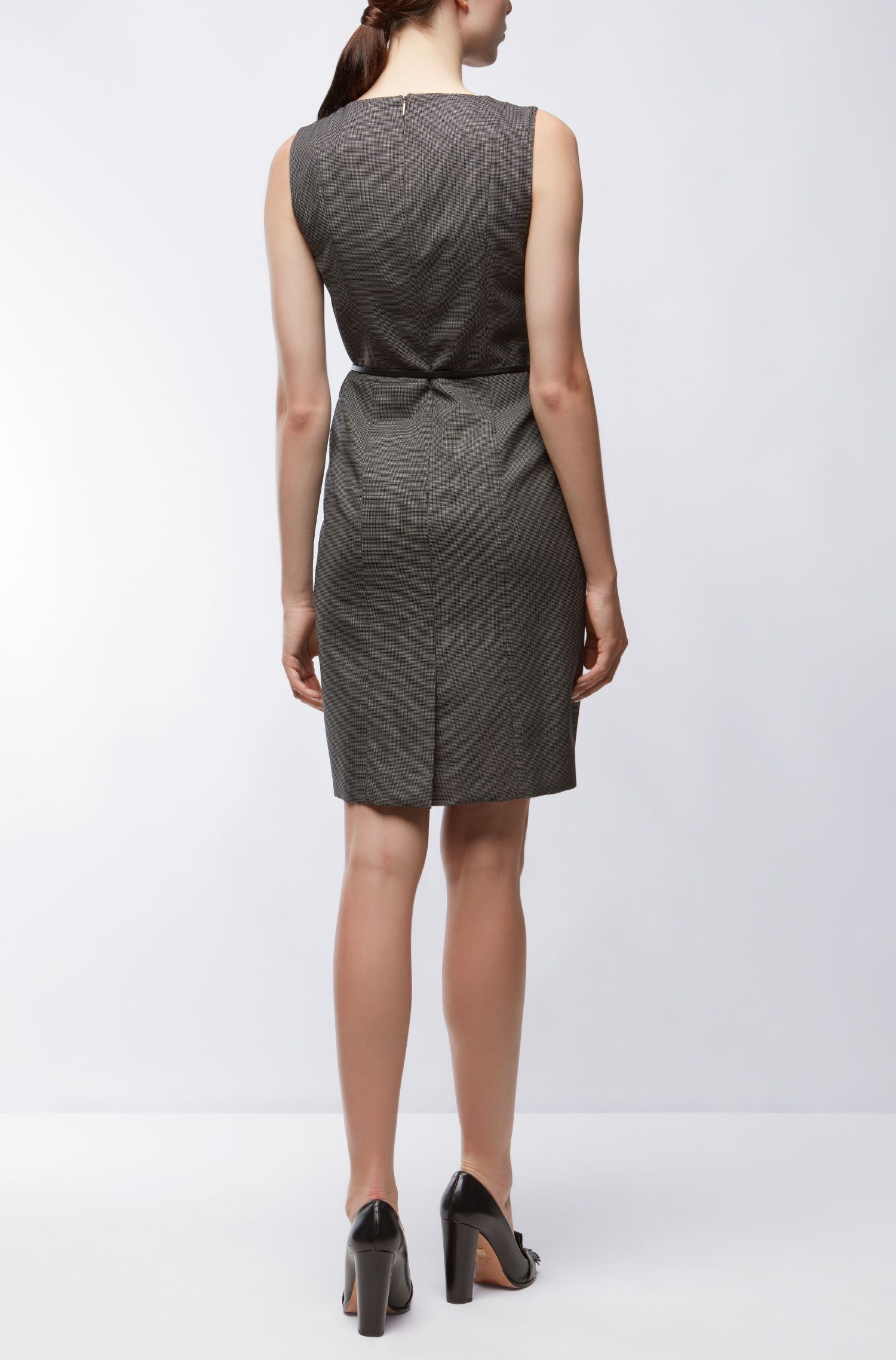 Stretch Virgin Wool Sheath Dress | Dalanda, Patterned