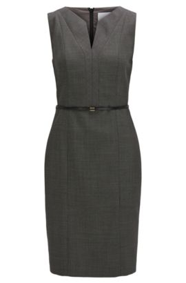 'Dalanda' | Stretch Virgin Wool Sheath Dress, Patterned