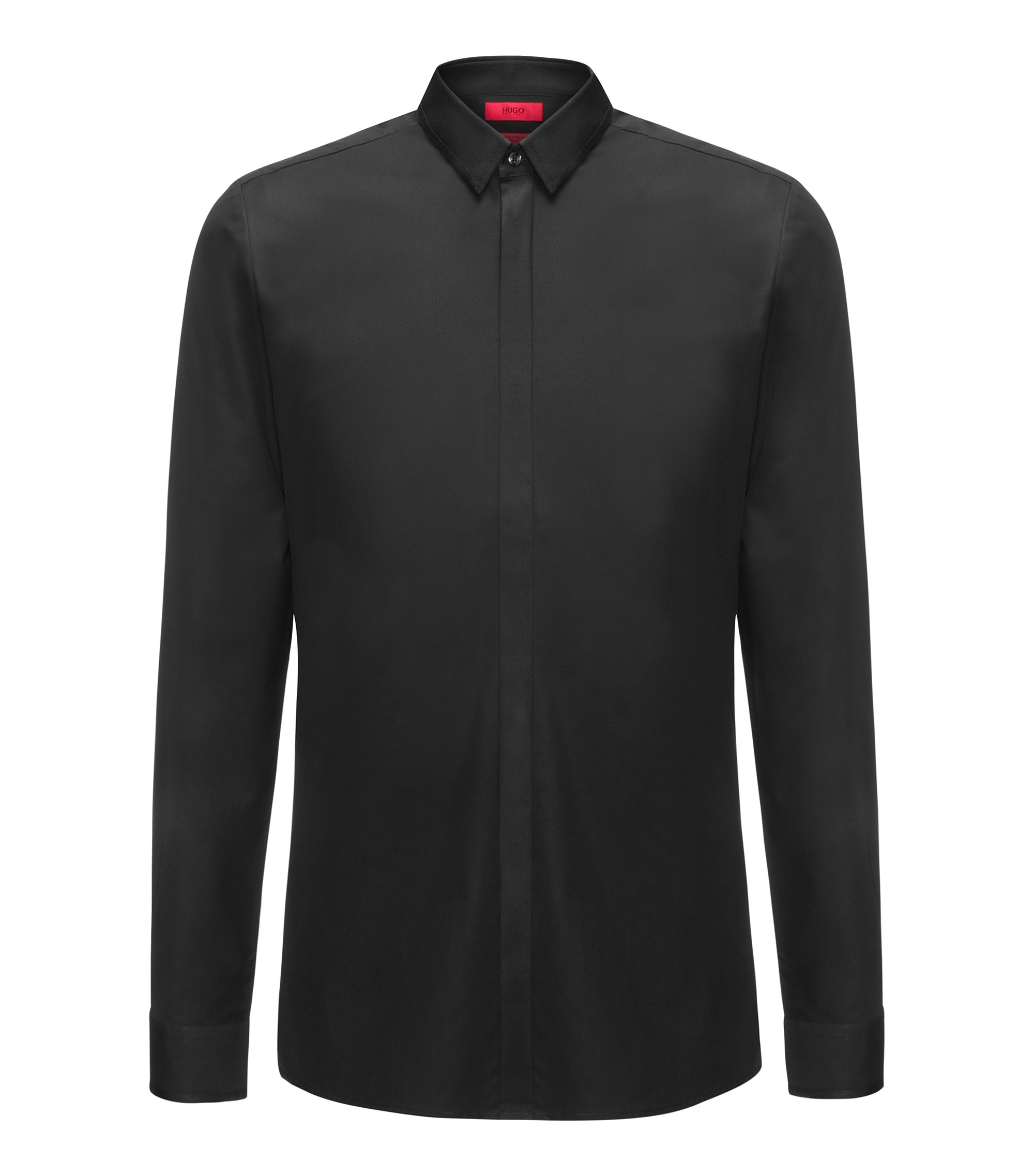 Easy-Iron Cotton Dress Shirt, Extra Slim Fit | Ebow, Black