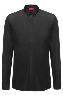 Easy-Iron Cotton Dress Shirt, Extra Slim Fit   Ebow, Black