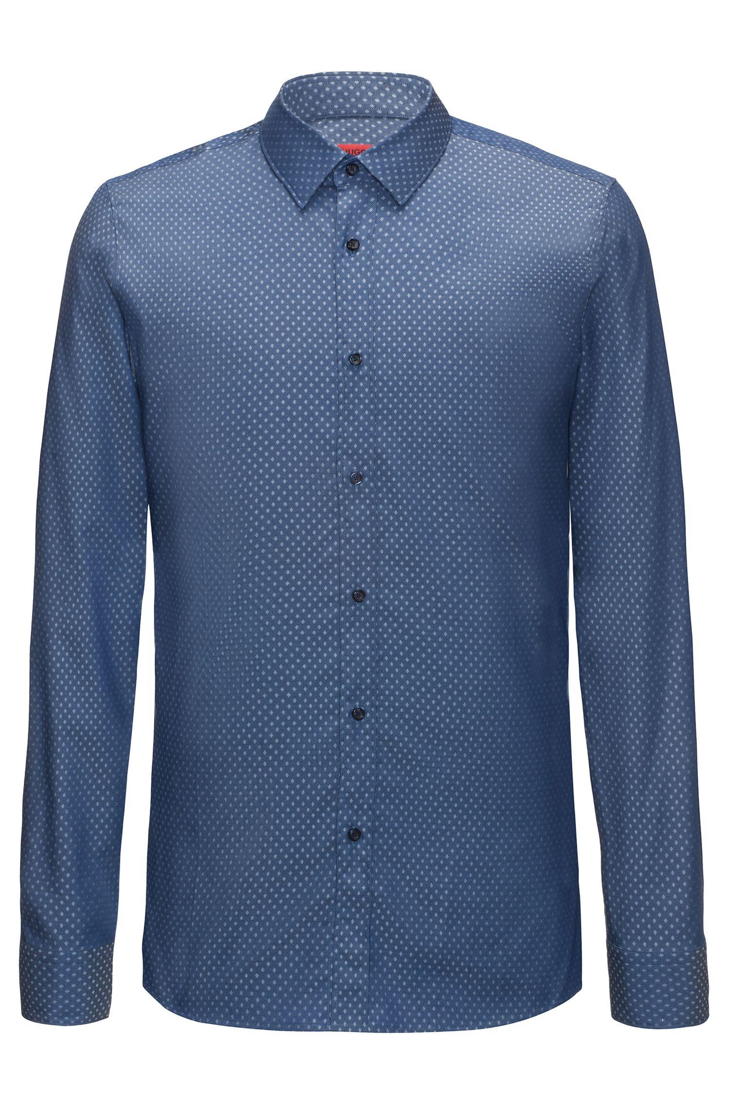 Diamond-Patterned Cotton Sport Shirt, Extra-Slim Fit | Elisha