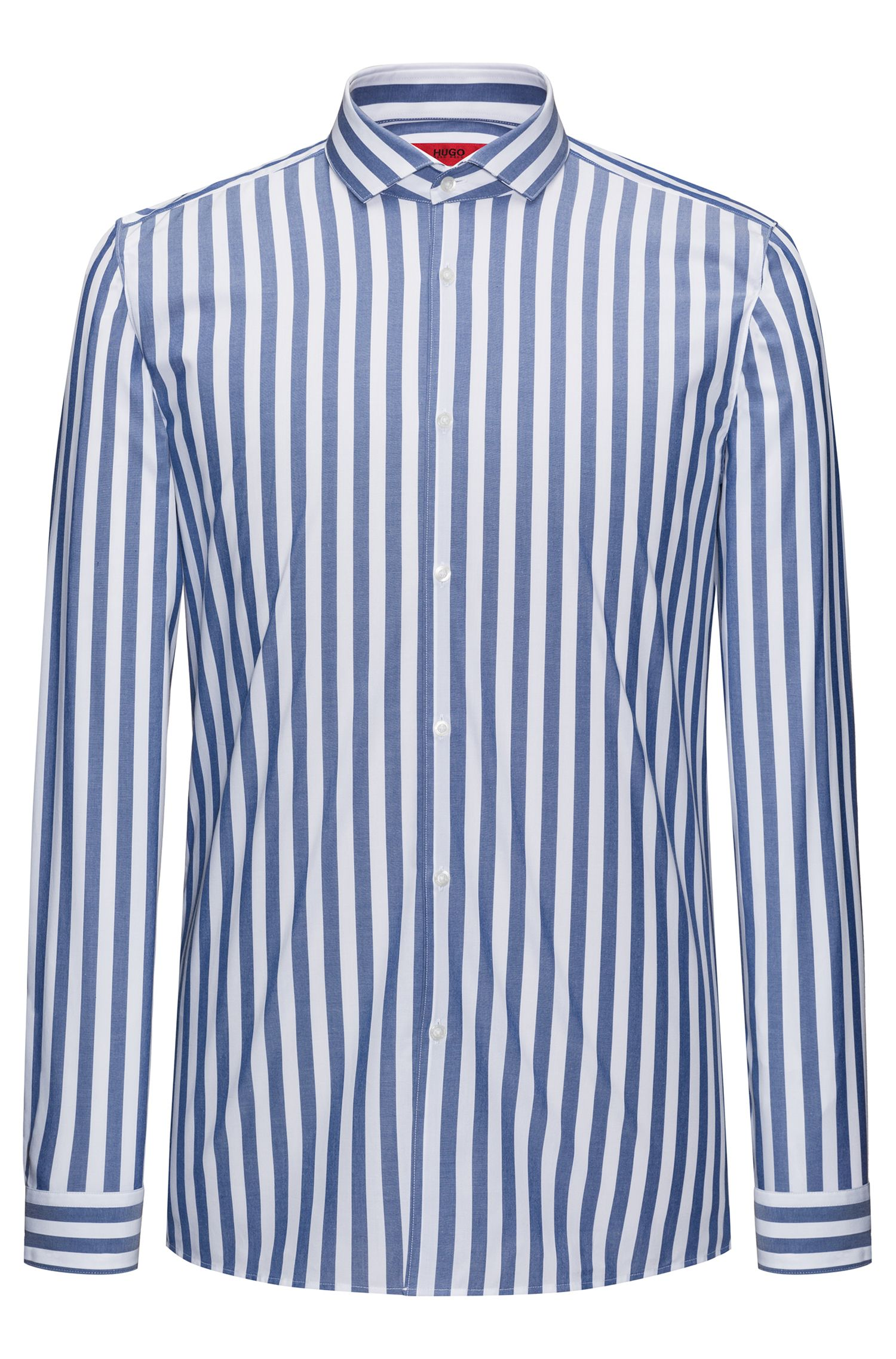 Awning Striped Poplin Sport Shirt, Extra Slim Fit | Erriko, Blue