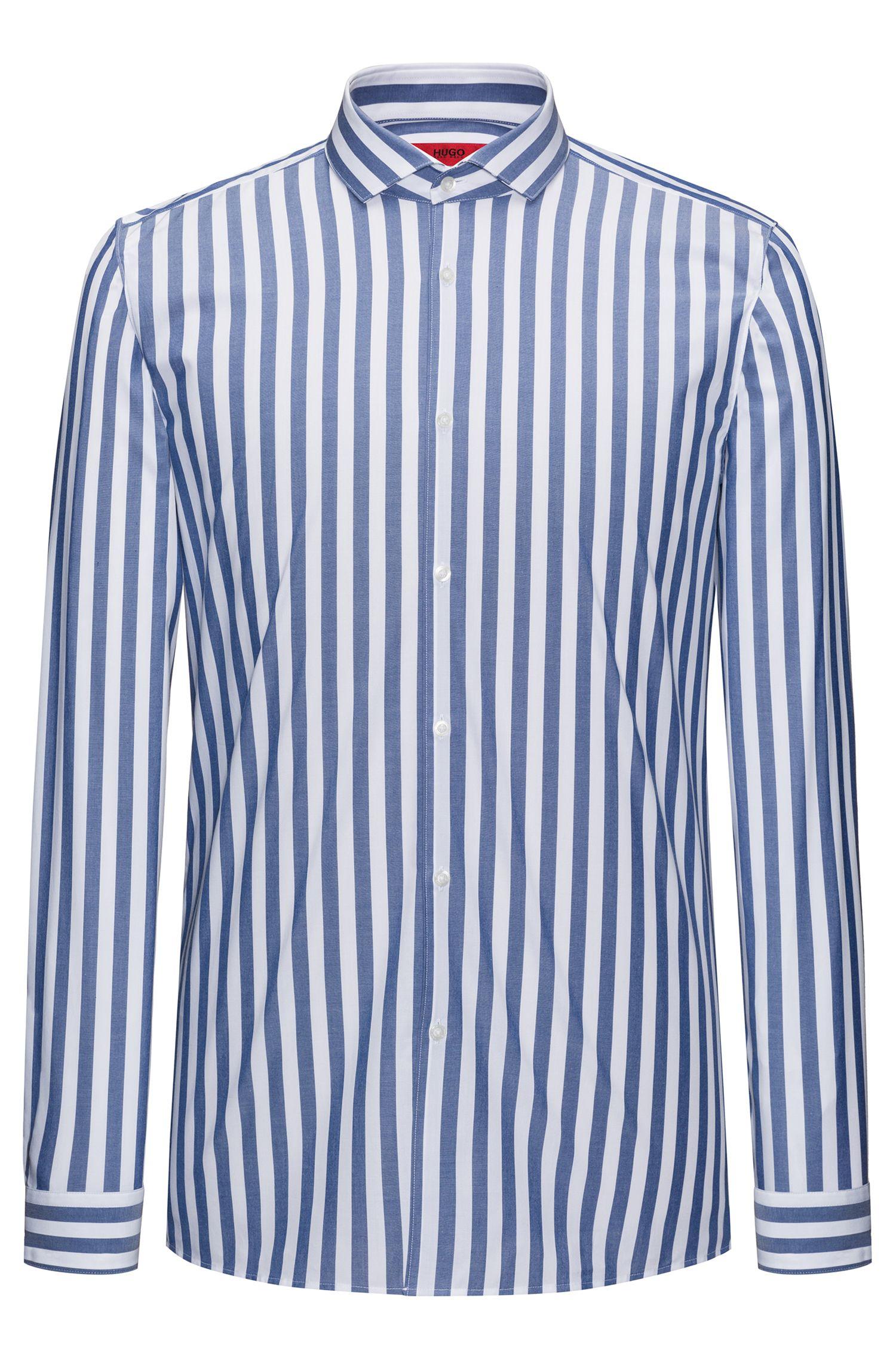 Awning Striped Poplin Sport Shirt, Extra Slim Fit | Erriko