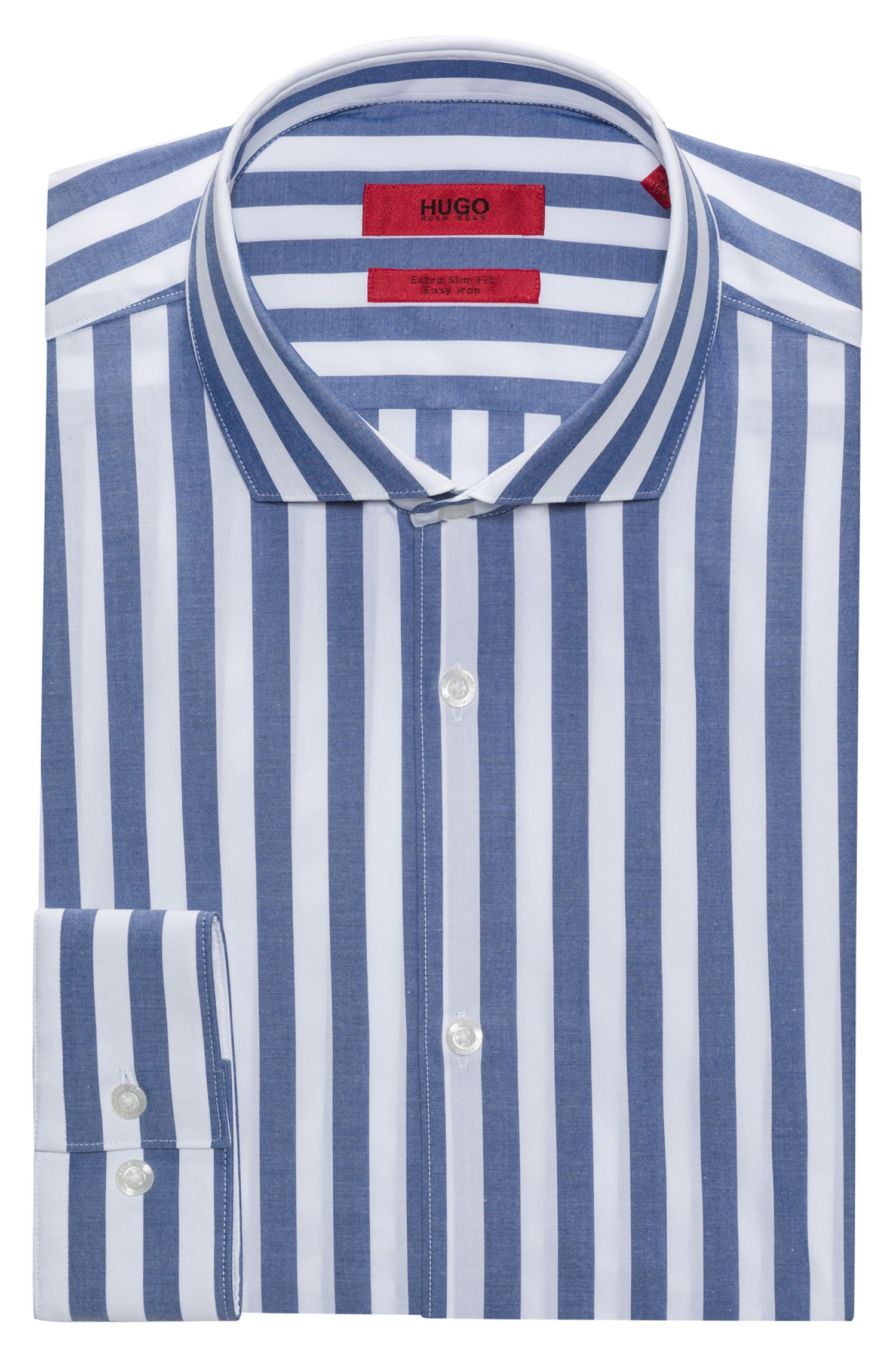 Awning Striped Poplin Sport Shirt, Extra Slim Fit | Erriko