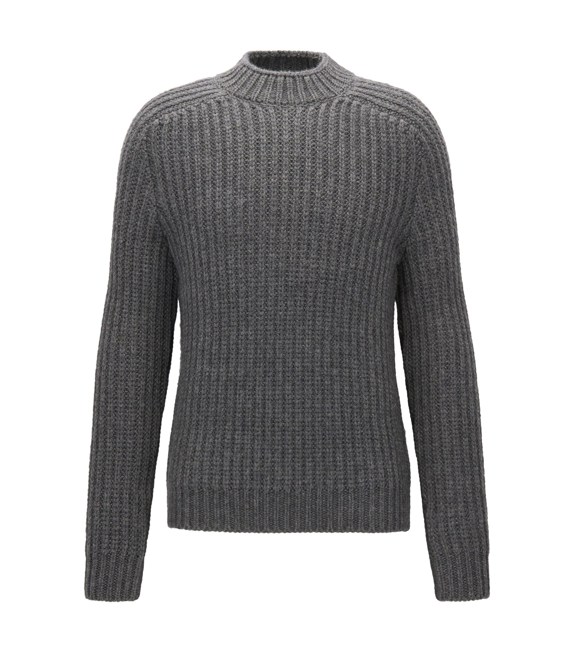 Virgin Wool Alpaca Ribbed Sweater | Logan AM, Grey