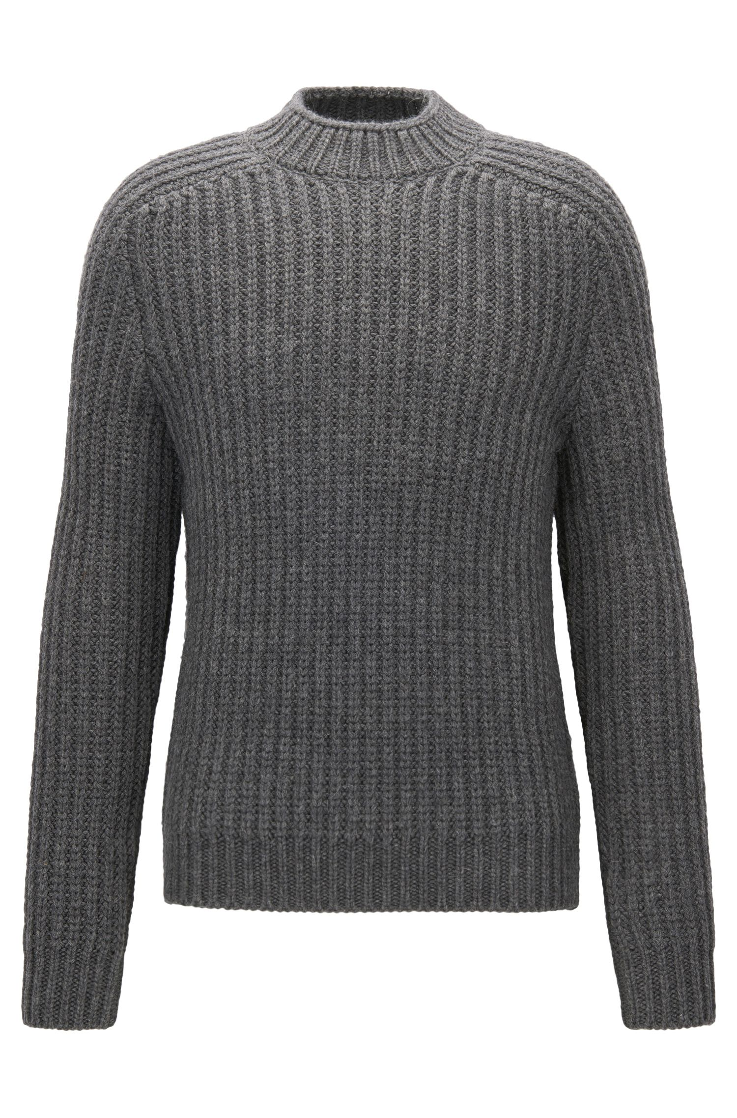 Virgin Wool Alpaca Ribbed Sweater | Logan AM