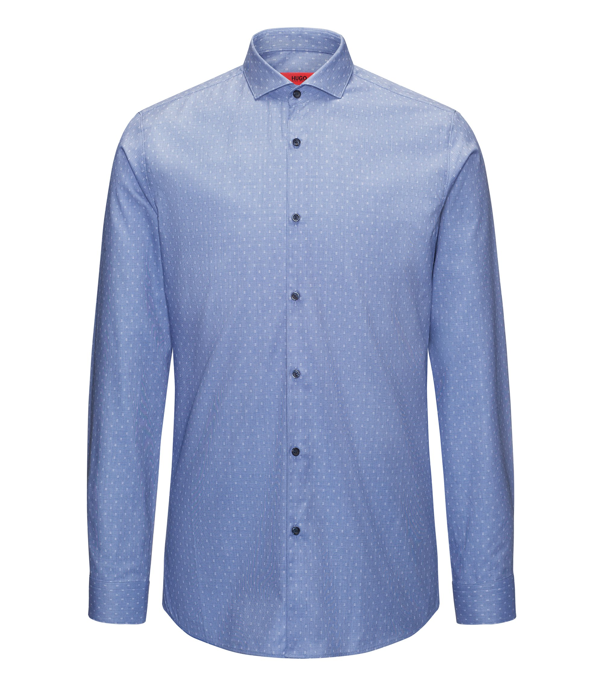 Hashtag Cotton Sport Shirt, Extra Slim Fit | Erriko, Blue