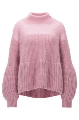 Mohair Blend Chunky Knit Sweater   Frieza, Purple