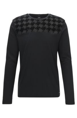 Houndstooth Cotton T-Shirt | Tenison, Black