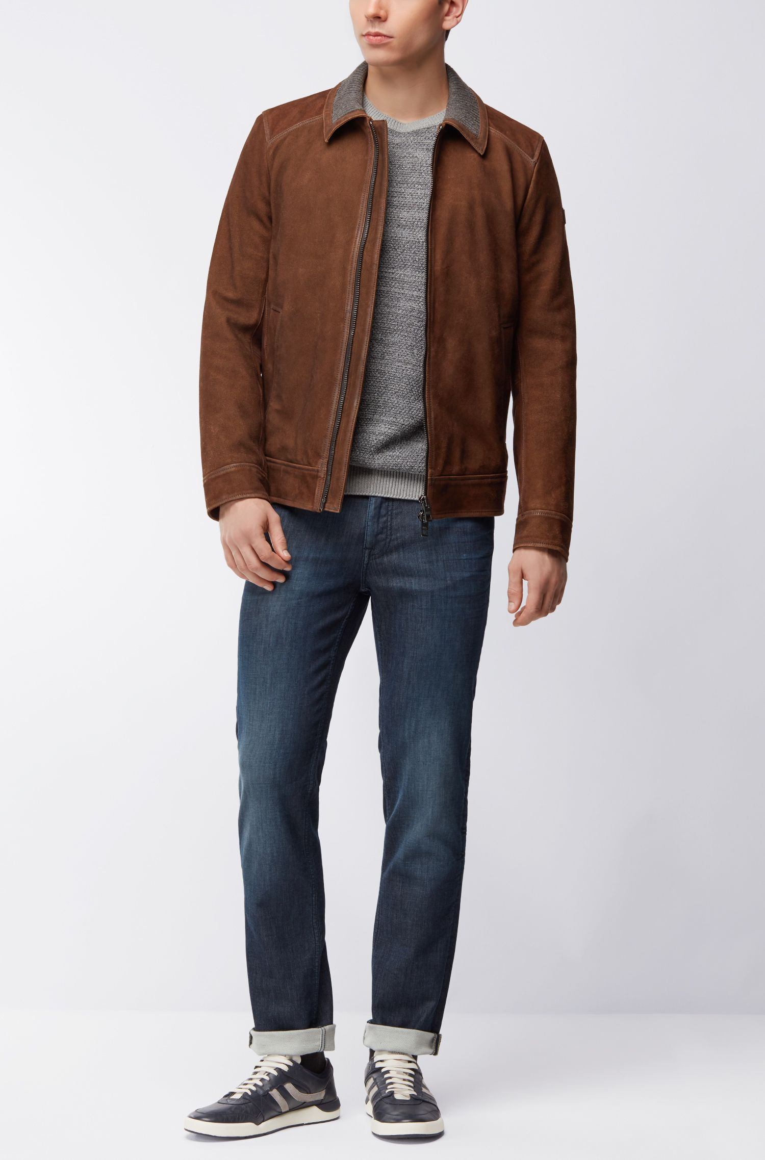 Goat Suede Leather Jacket | Jacien