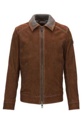 Goat Suede Leather Jacket | Jacien, Beige