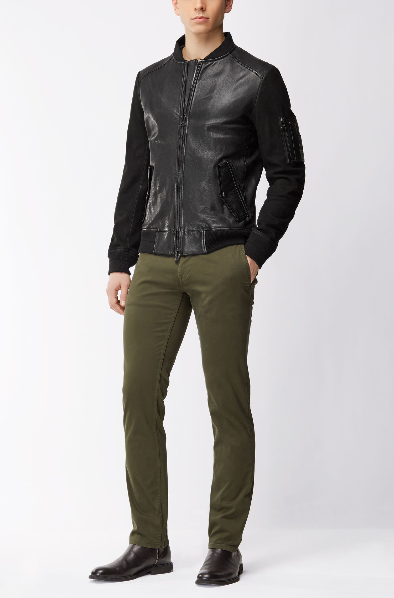 Sheepskin Leather Bomber Jacket | Jixx