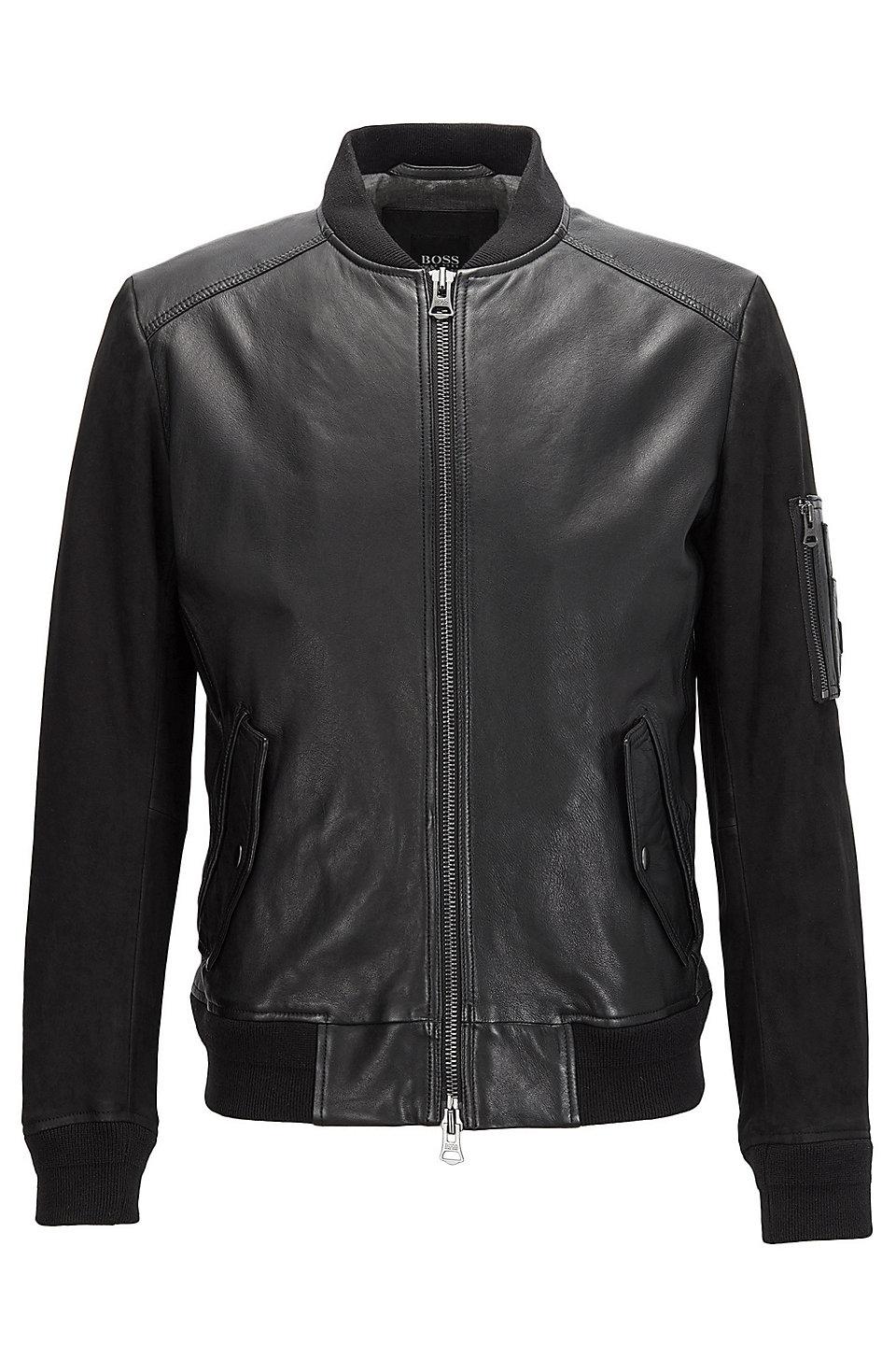 Sheepskin Leather Bomber Jacket | Jixx, Black