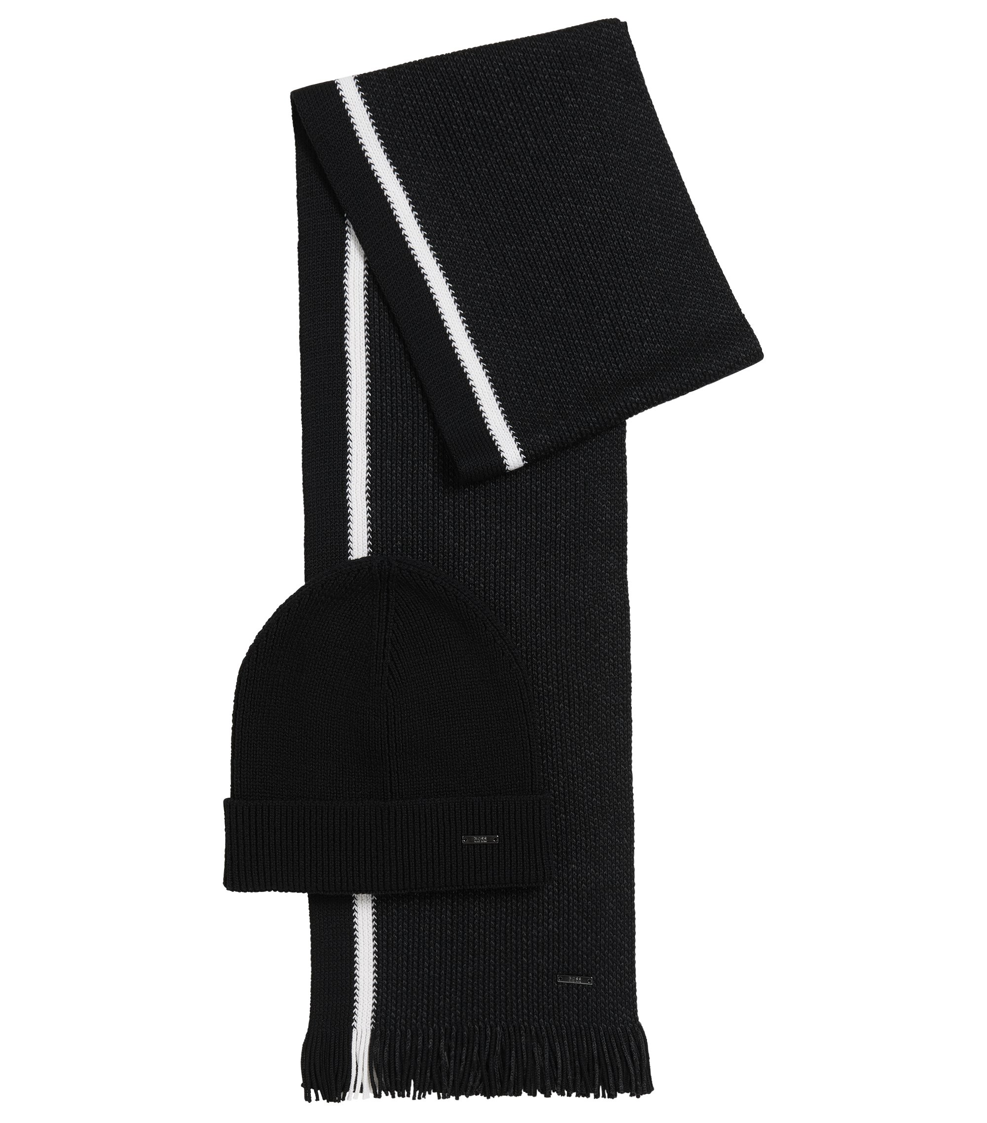 Virgin Wool Beanie & Scarf Set | Marros Set, Black