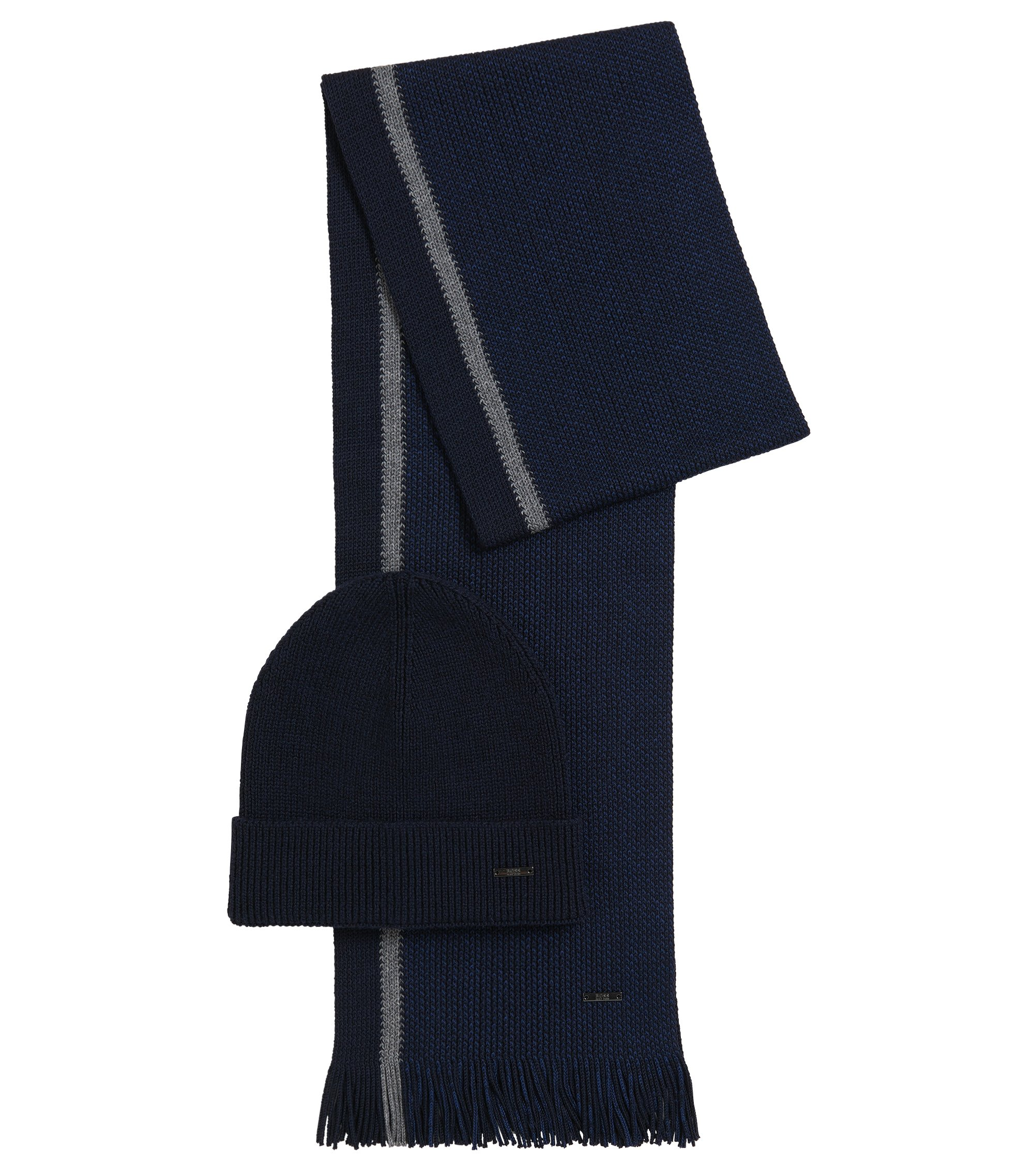 Virgin Wool Beanie & Scarf Set | Marros Set, Dark Blue