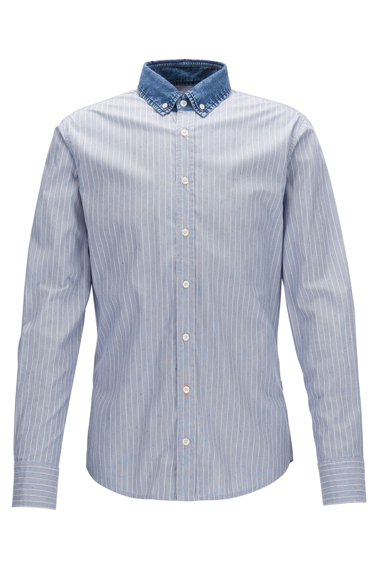 Striped Cotton Sport Shirt, Slim Fit | Epreppy, Dark Blue