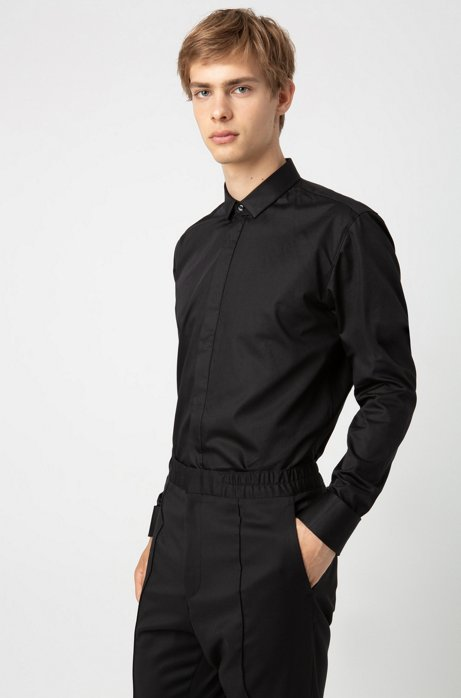Extra-slim-fit dress shirt in cotton sateen, Black