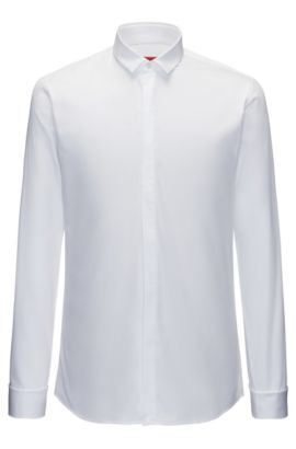 Easy-Iron Cotton Dress Shirt, Extra Slim Fit | Ejinar, Open White