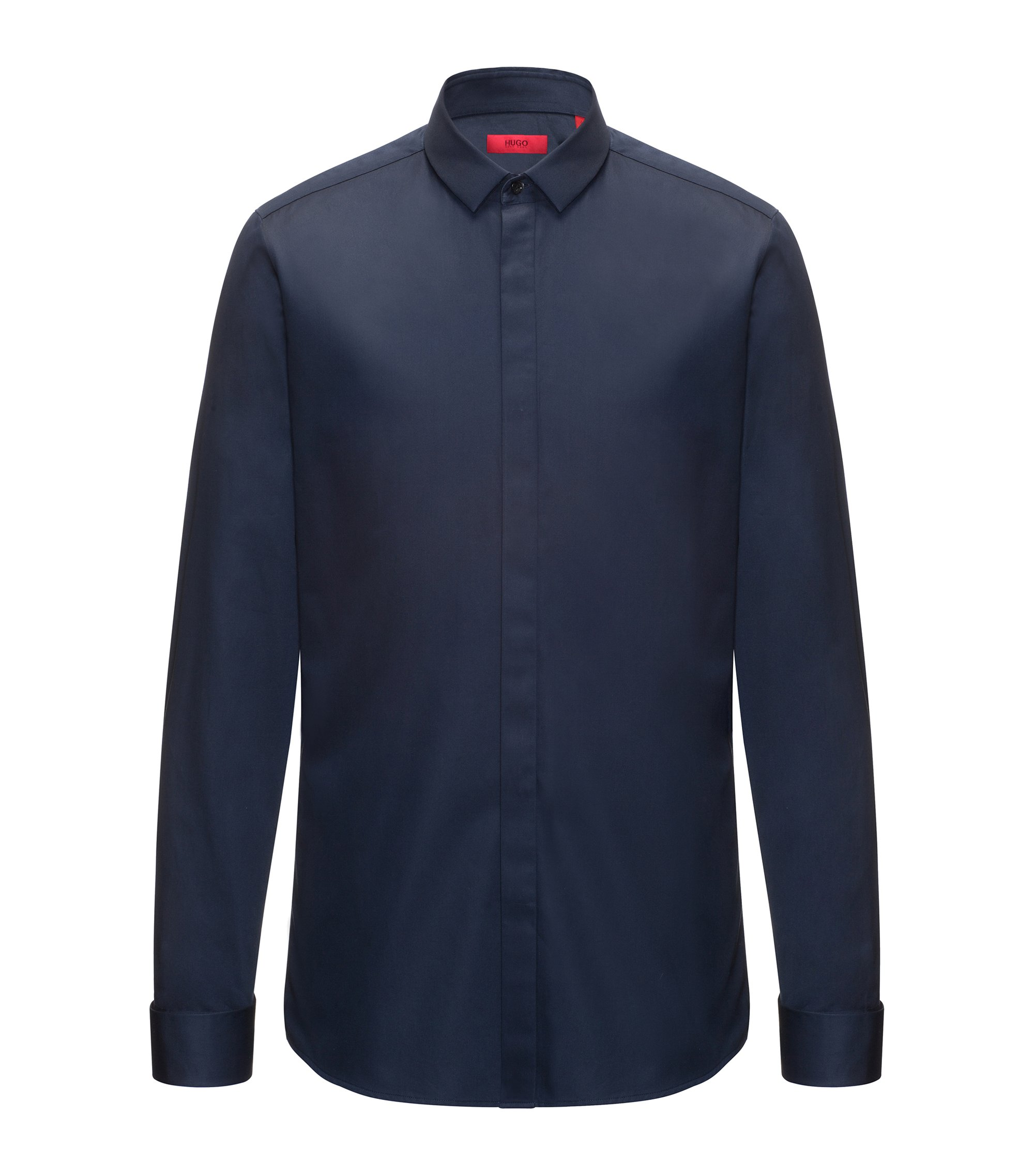 Easy-Iron Cotton Dress Shirt, Extra Slim Fit | Ejinar, Dark Blue