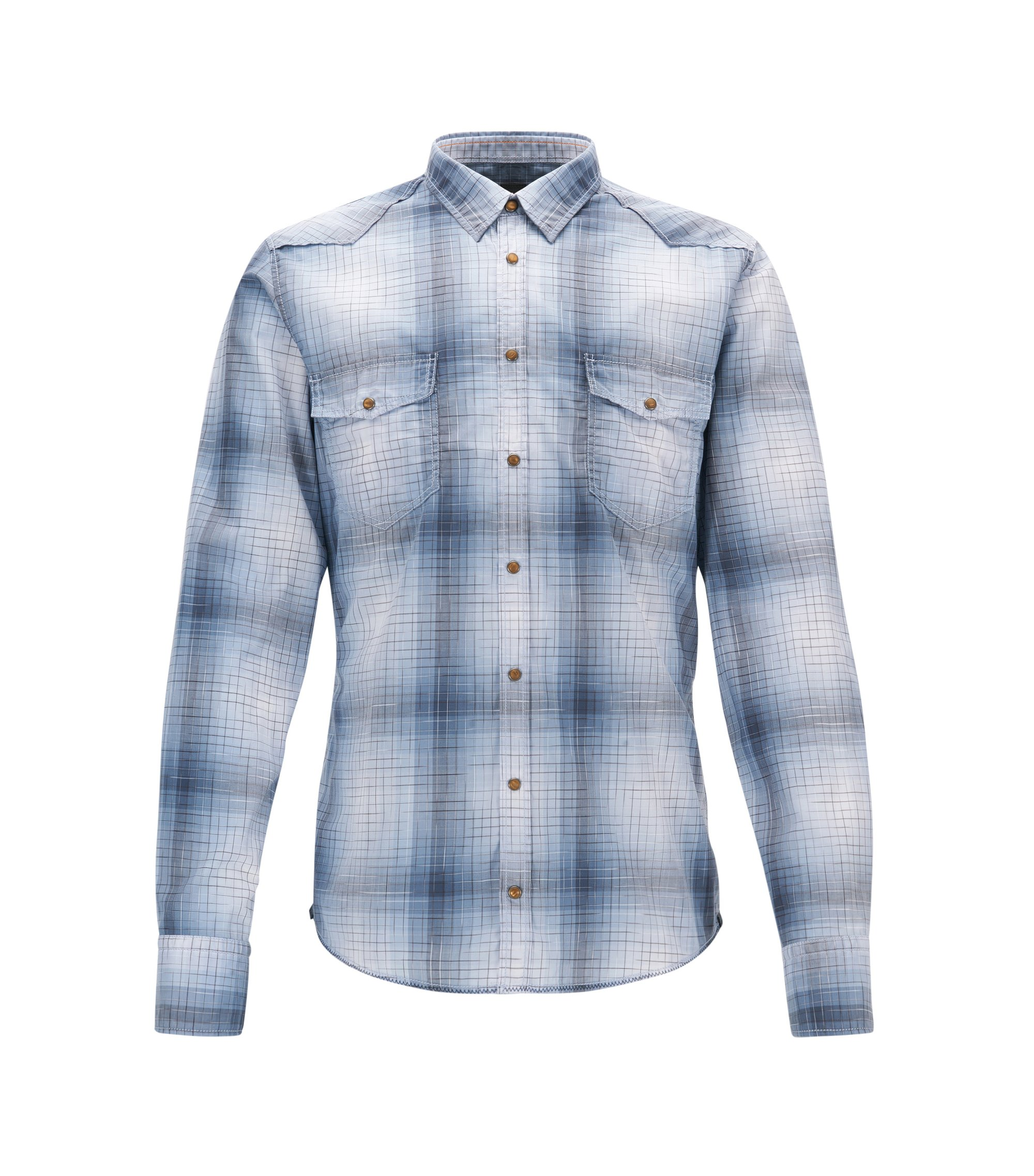 Plaid Cotton Western Shirt, Extra Slim Fit | Erodeo, Open Blue