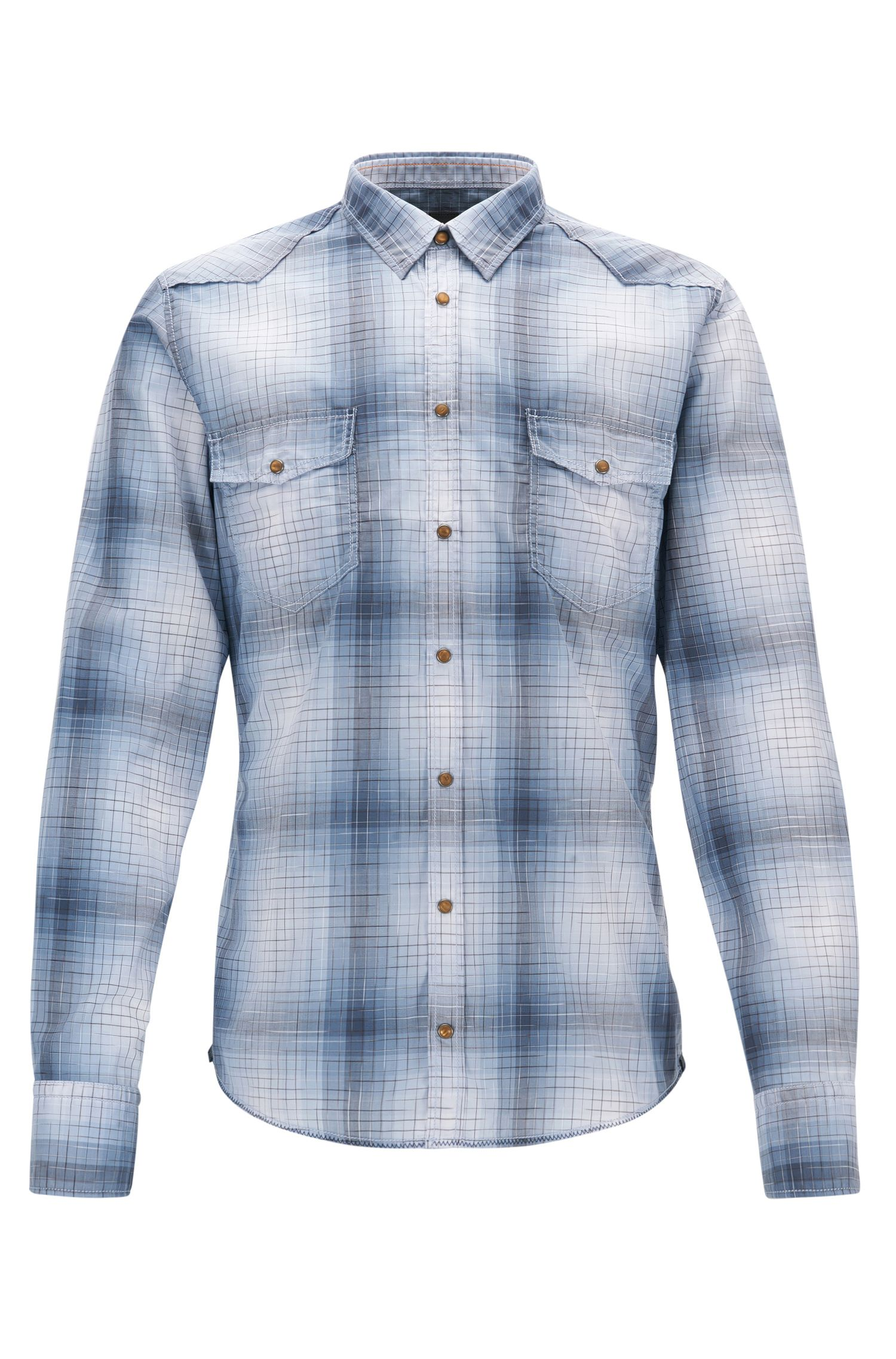 Plaid Cotton Western Shirt, Extra Slim Fit | Erodeo