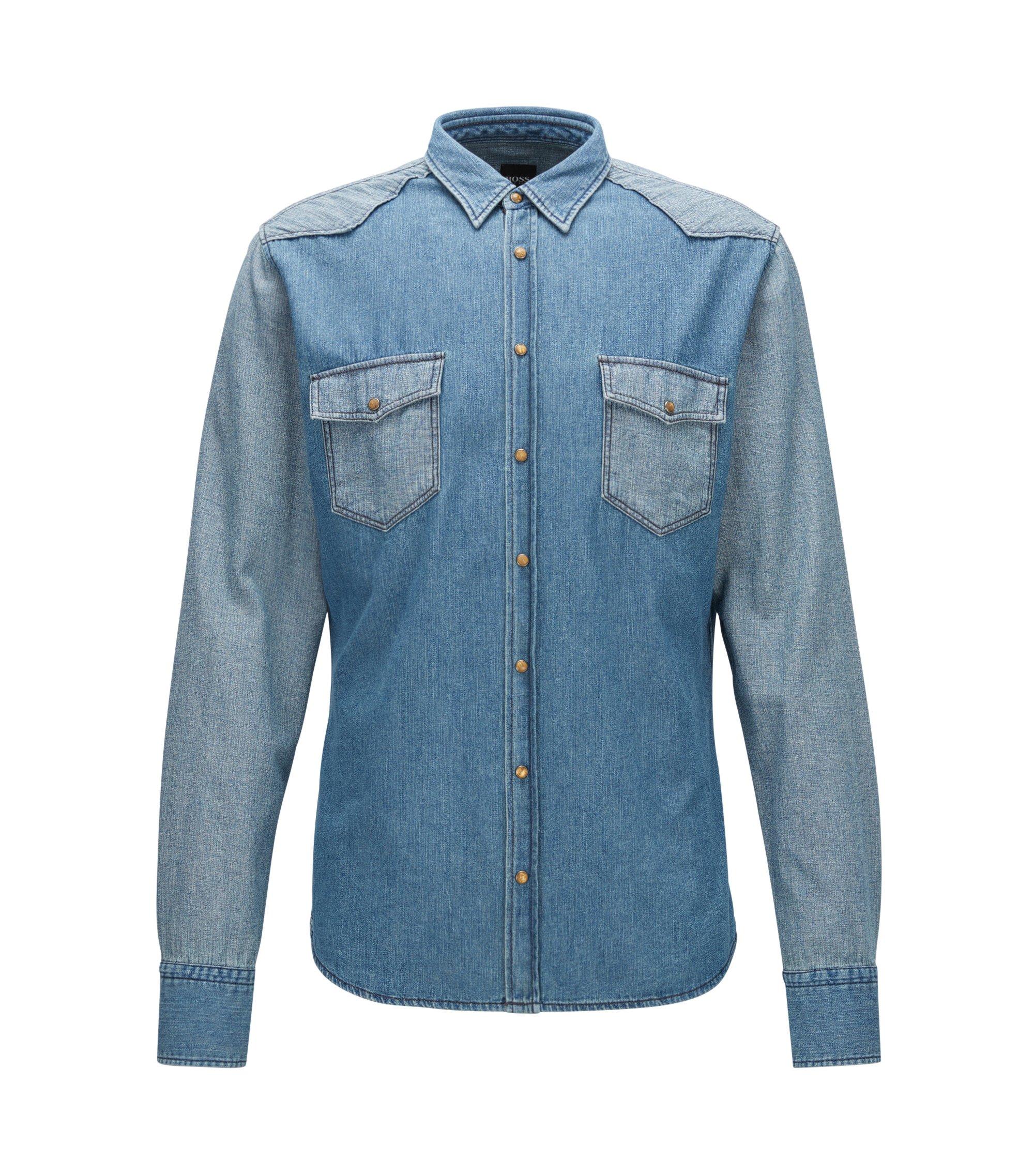 Cotton Button Down Western Shirt, Slim Fit   Erodeo, Dark Blue