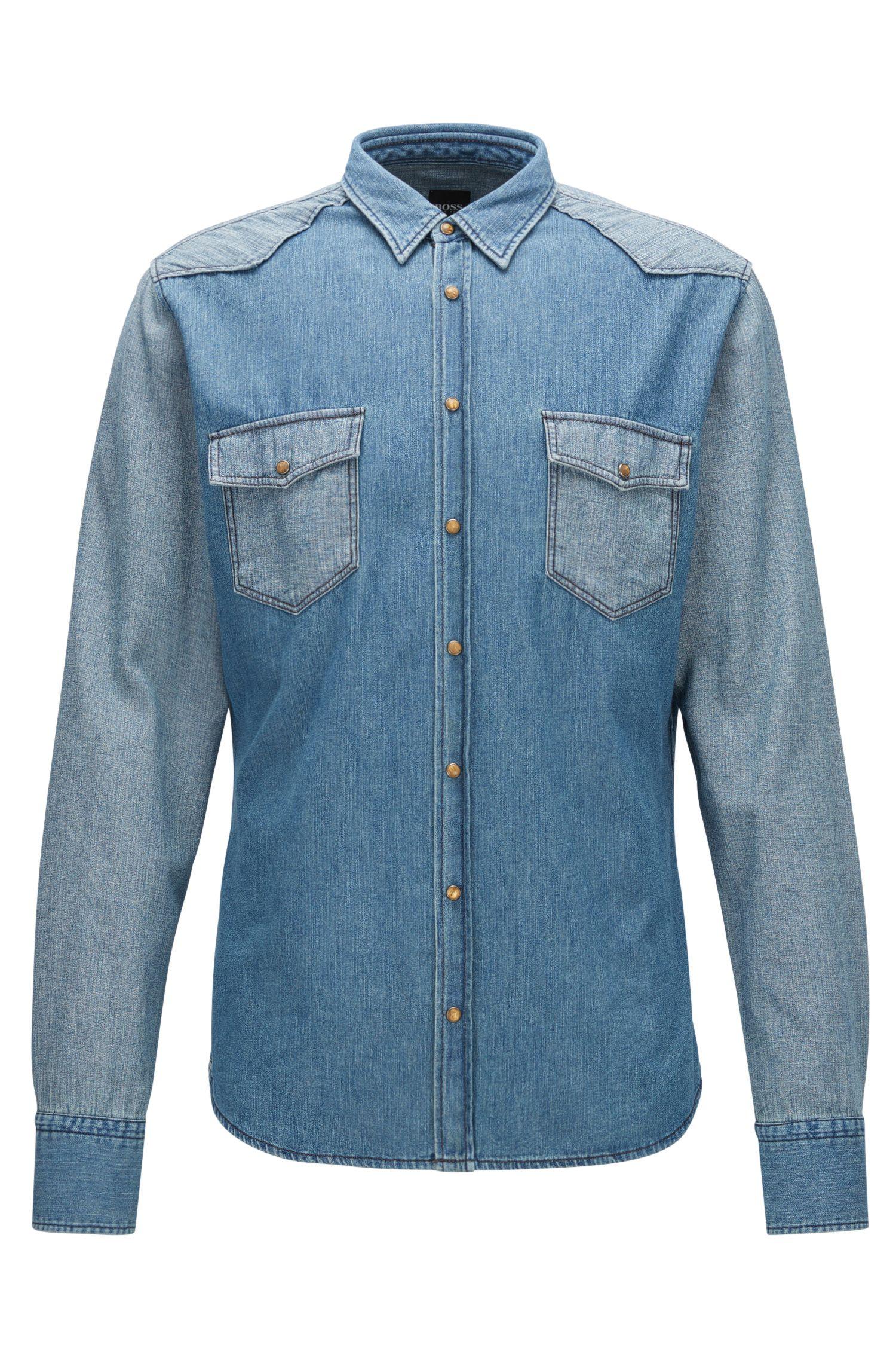 Cotton Button Down Western Shirt, Slim Fit   Erodeo