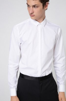 Extra-slim-fit evening shirt in cotton poplin, White