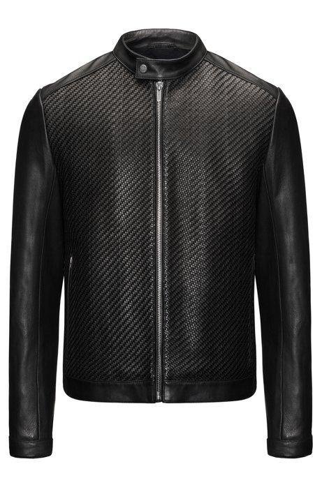 57d5d837e HUGO - Woven Leather Jacket   Lessco