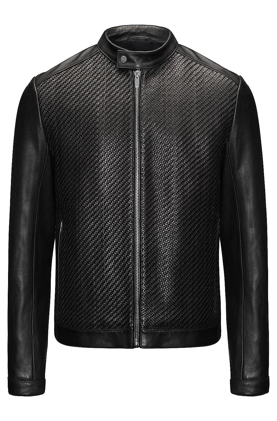Hugo Woven Leather Jacket Lessco