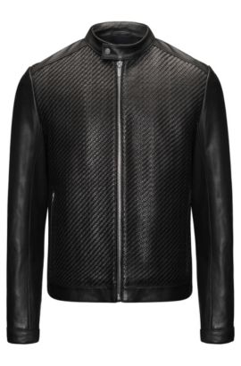 Woven Leather Jacket | Lessco , Black