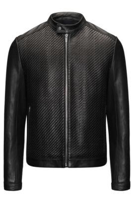 Woven Leather Jacket | Lessco , Black