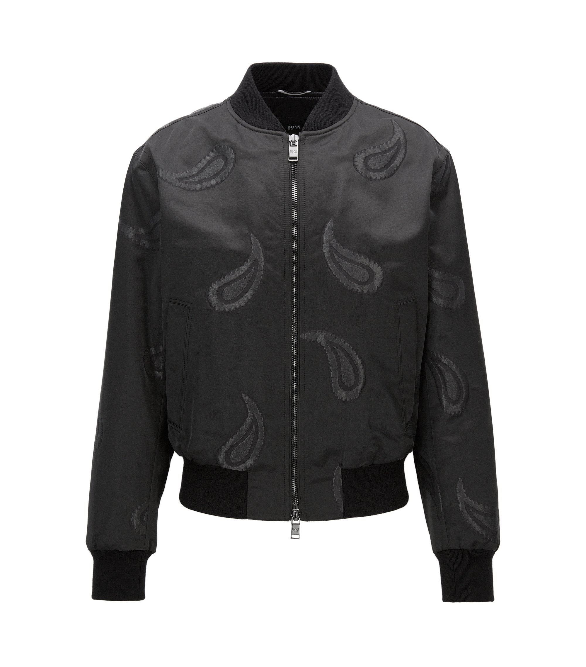Paisley Jacquard Bomber Jacket, Regular Fit | Chanton, Black