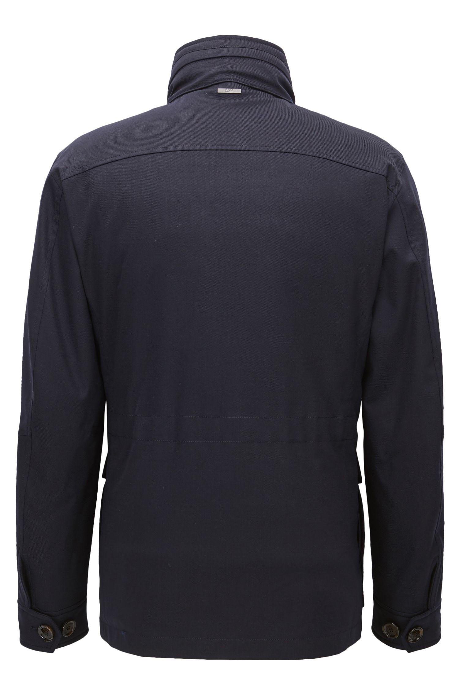 Italian Stretch Wool Twill Field Jacket | T-Carupa, Dark Blue