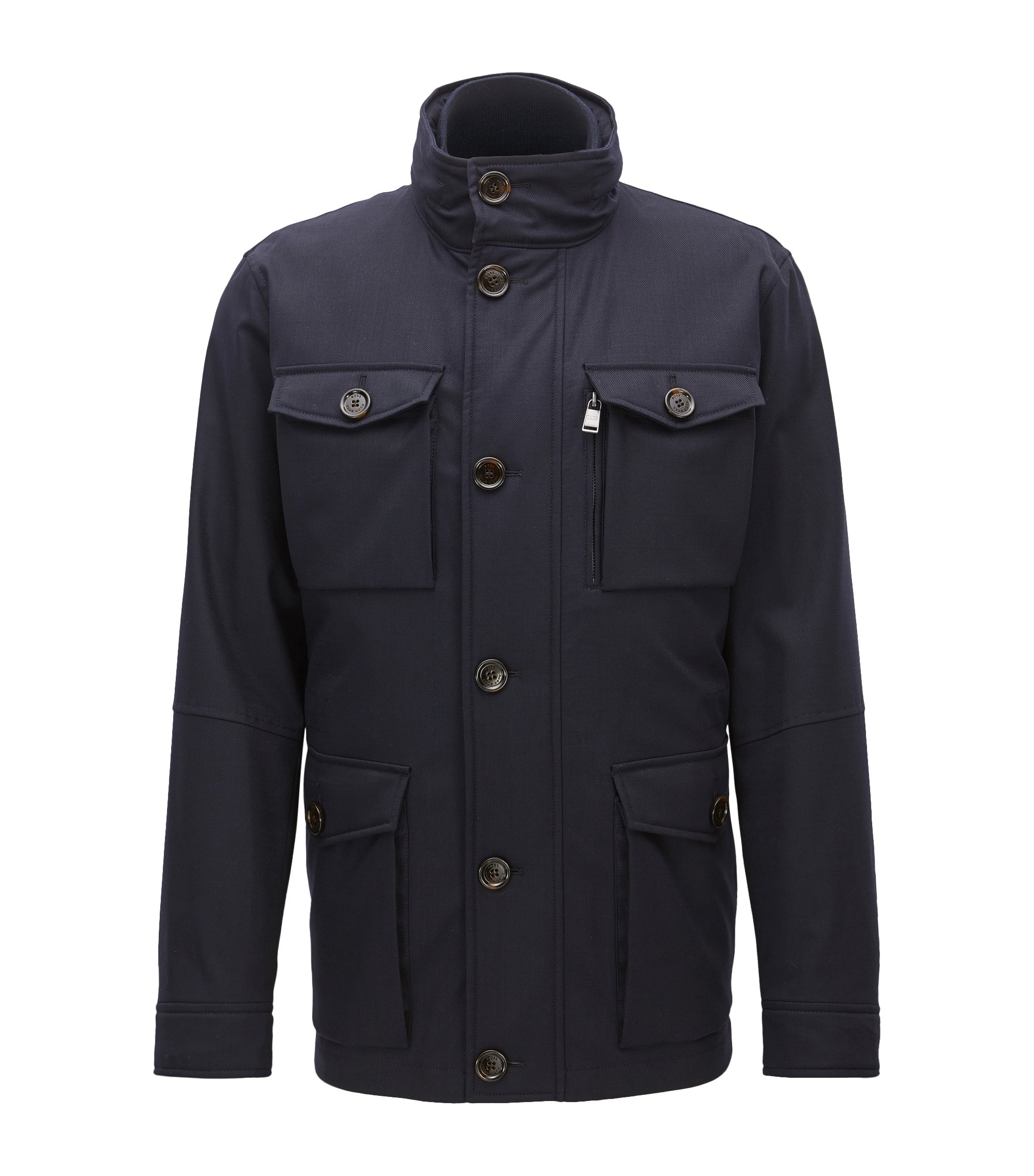 Italian Stretch Wool Twill Field Jacket | T-Carupa, Dark Blue