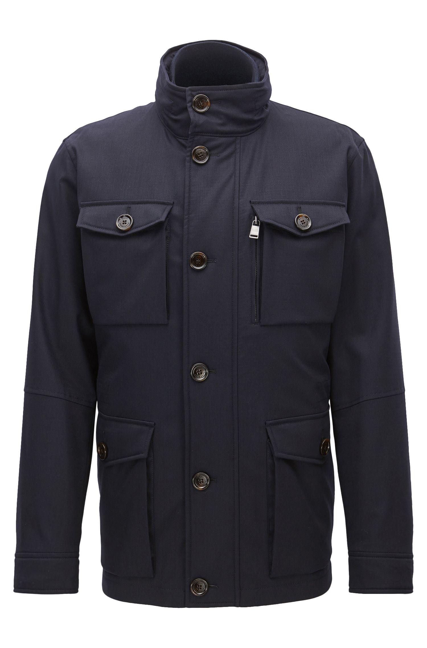 Italian Stretch Wool Twill Field Jacket   T-Carupa