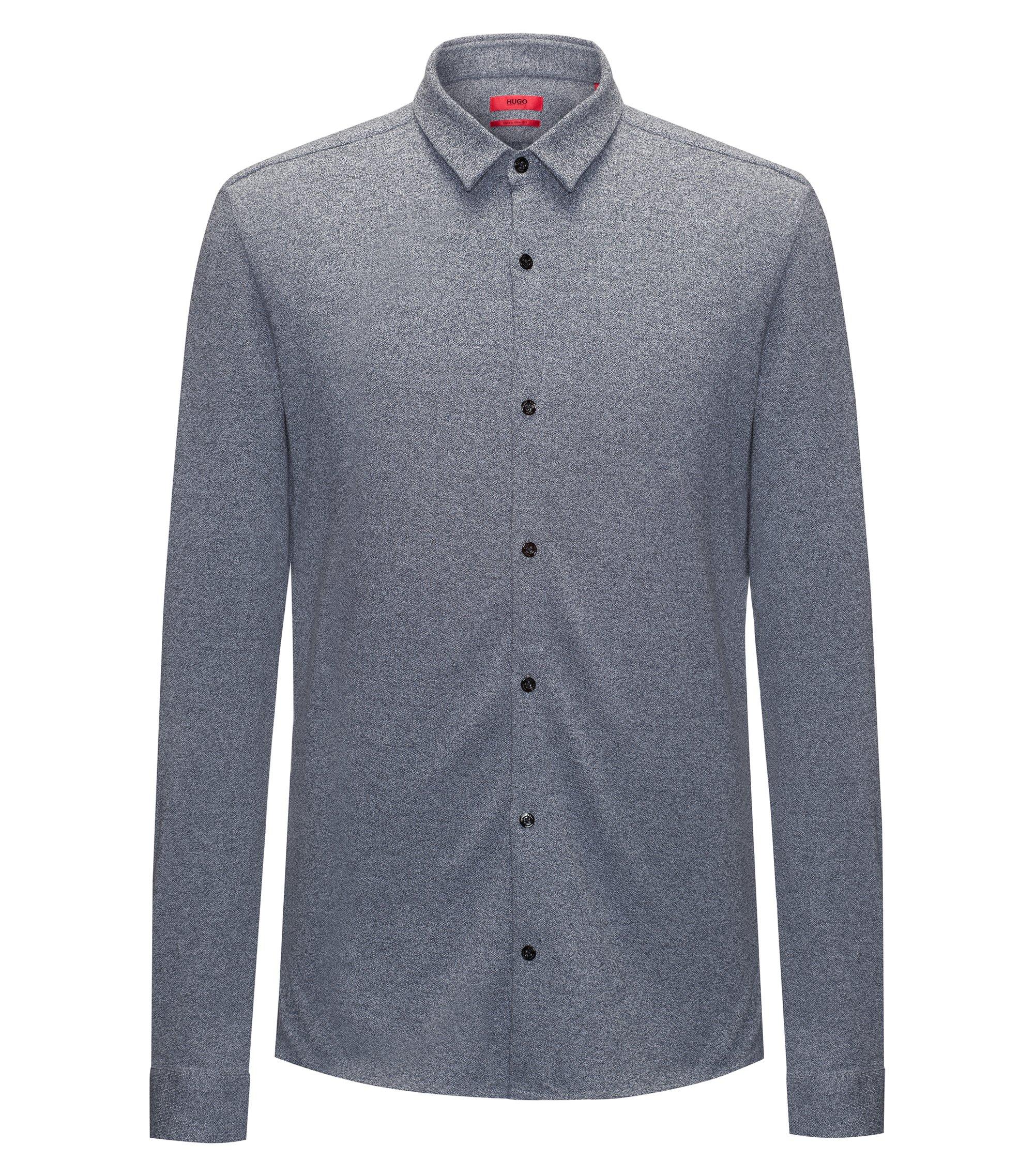 Heathered Cotton Jersey Sport Shirt, Extra Slim Fit   Ero W, Dark Blue