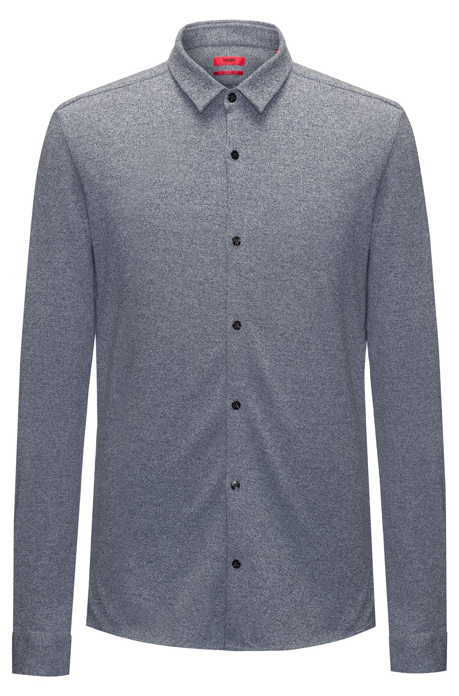 Heathered Cotton Jersey Sport Shirt, Extra Slim Fit | Ero W, Dark Blue