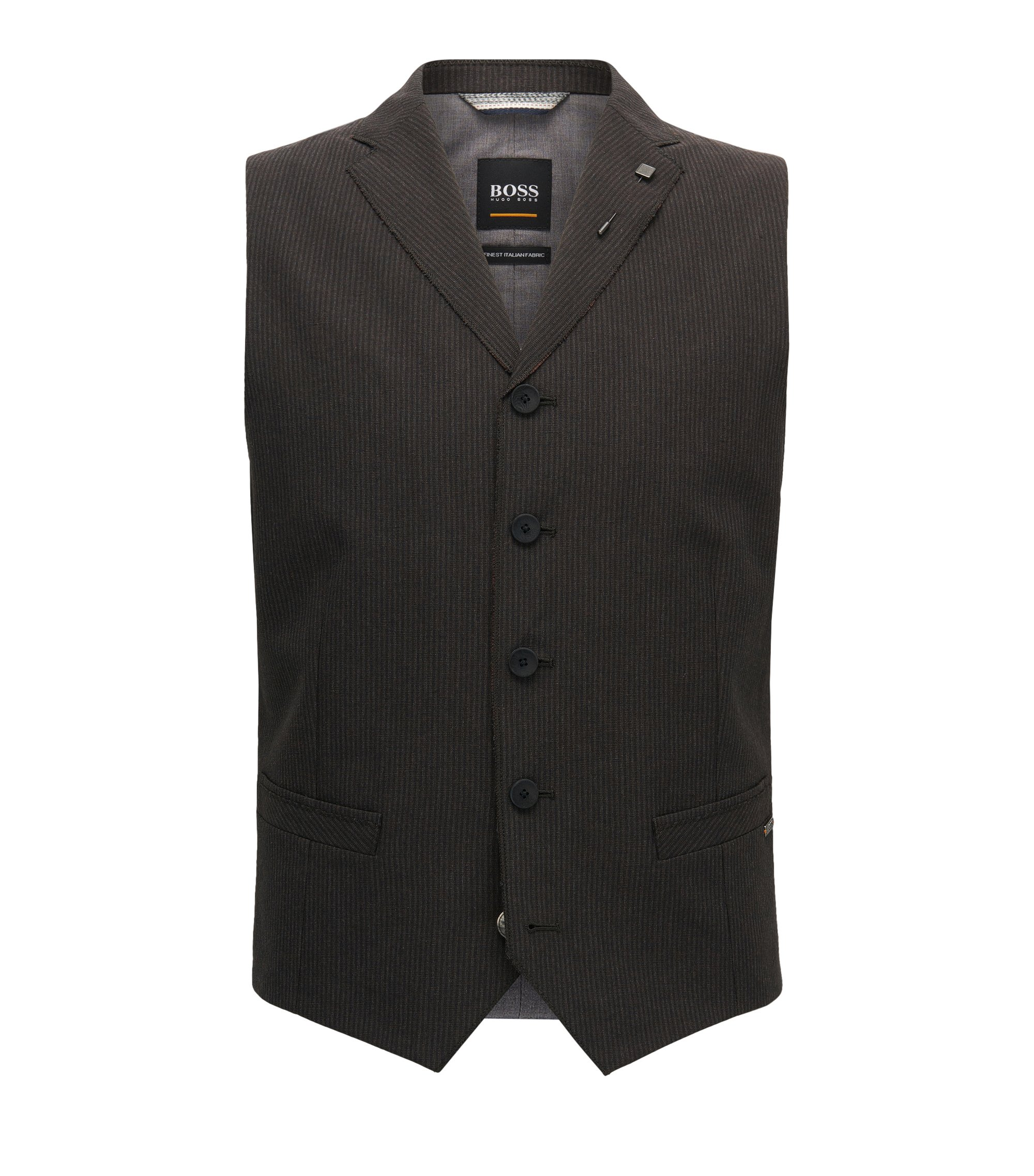 Pinstriped Italian Fabric Waistcoat | Bace BS, Dark Brown