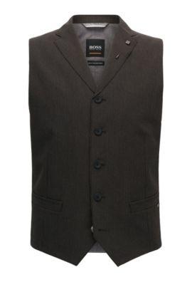Pinstriped Italian Fabric Waistcoat | Bace BS, Dark Brown