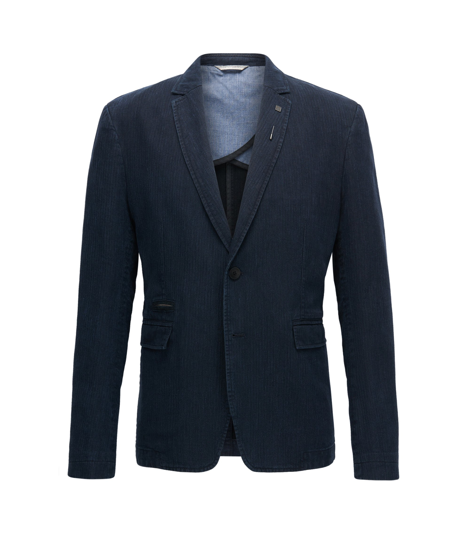 Herringbone Cotton Linen Sport Coat, Slim Fit | Baxed, Dark Blue