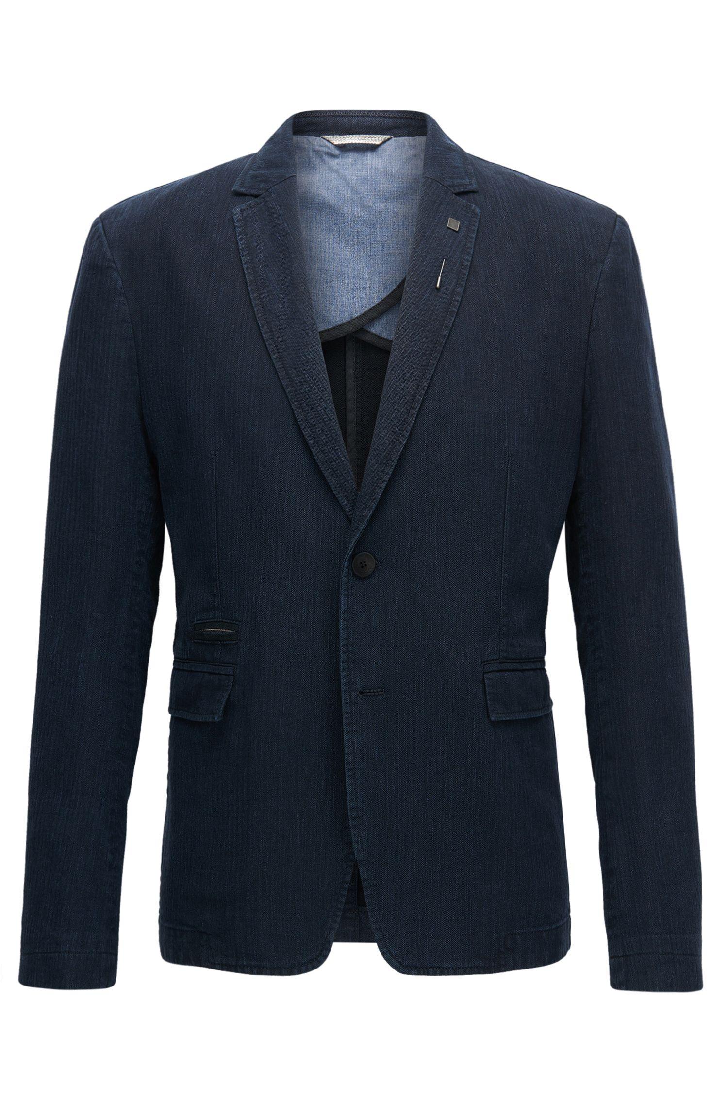 Herringbone Cotton Linen Sport Coat, Slim Fit | Baxed