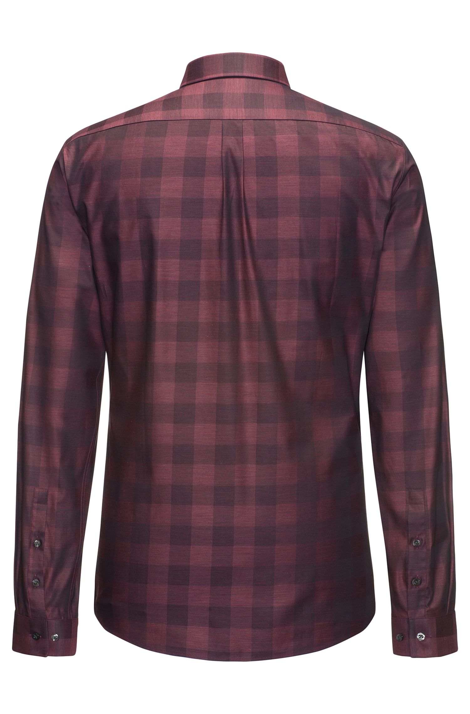 Gingham Cotton Sport Shirt, Extra Slim Fit | Ero, Dark Red