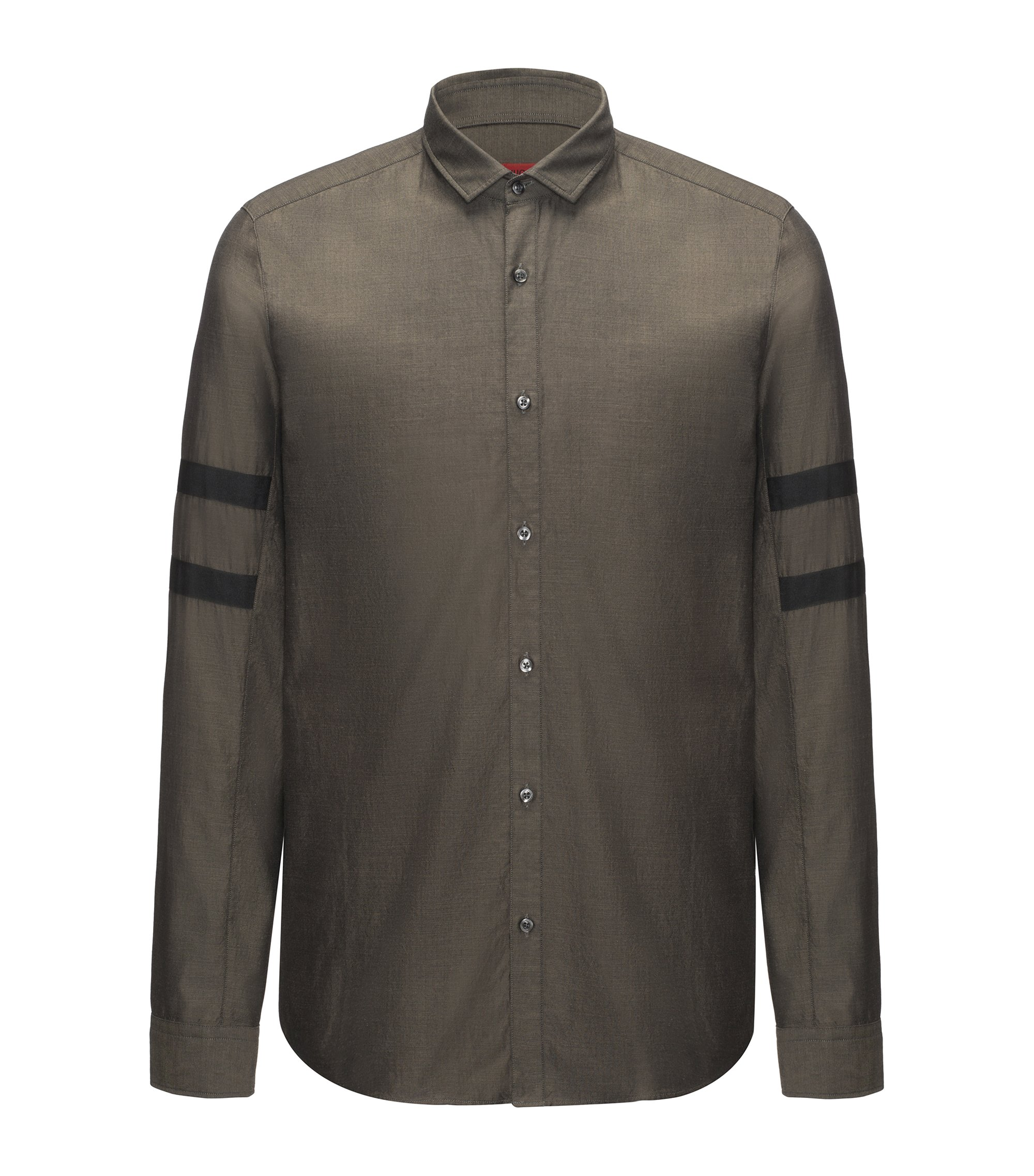 Stretch Cotton Sport Shirt, Straight Fit | Barnei R, Dark Green