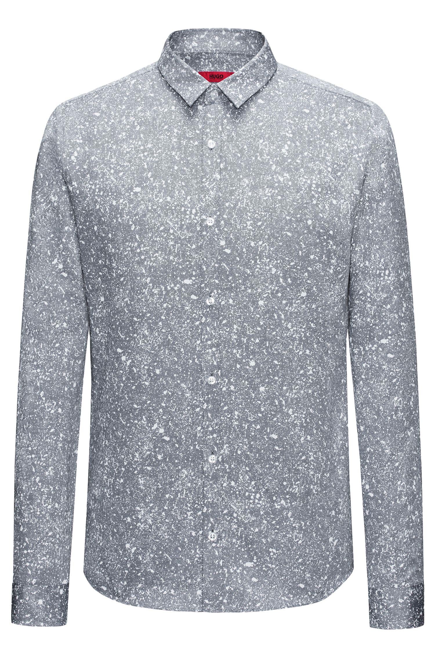 Paint-Splattered Cotton Shirt, Extra Slim Fit | Ero W
