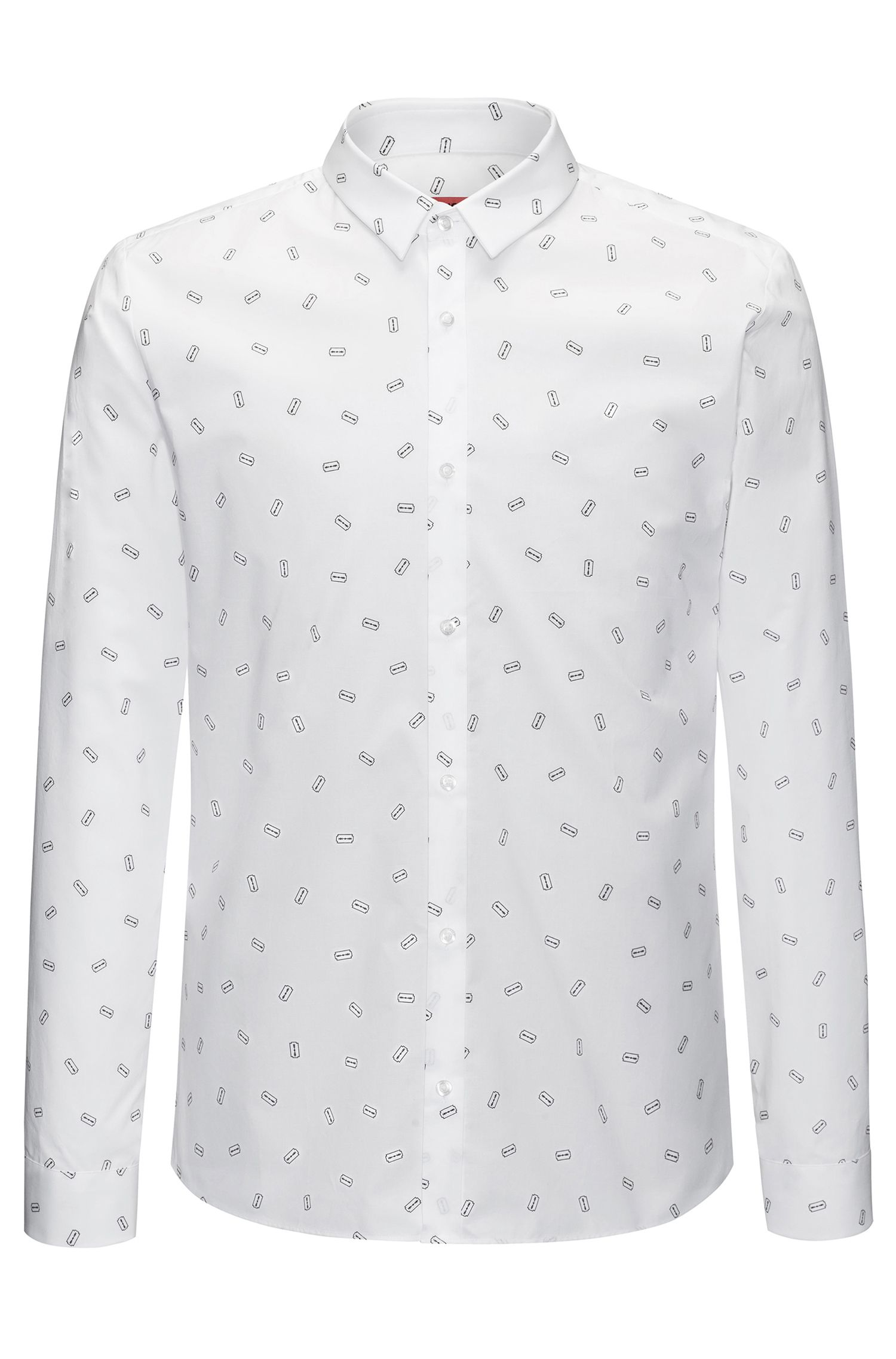 Printed Cotton Sport Shirt, Extra Slim Fit | Ero