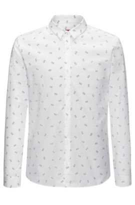 Printed Cotton Sport Shirt, Extra Slim Fit | Ero, Open White