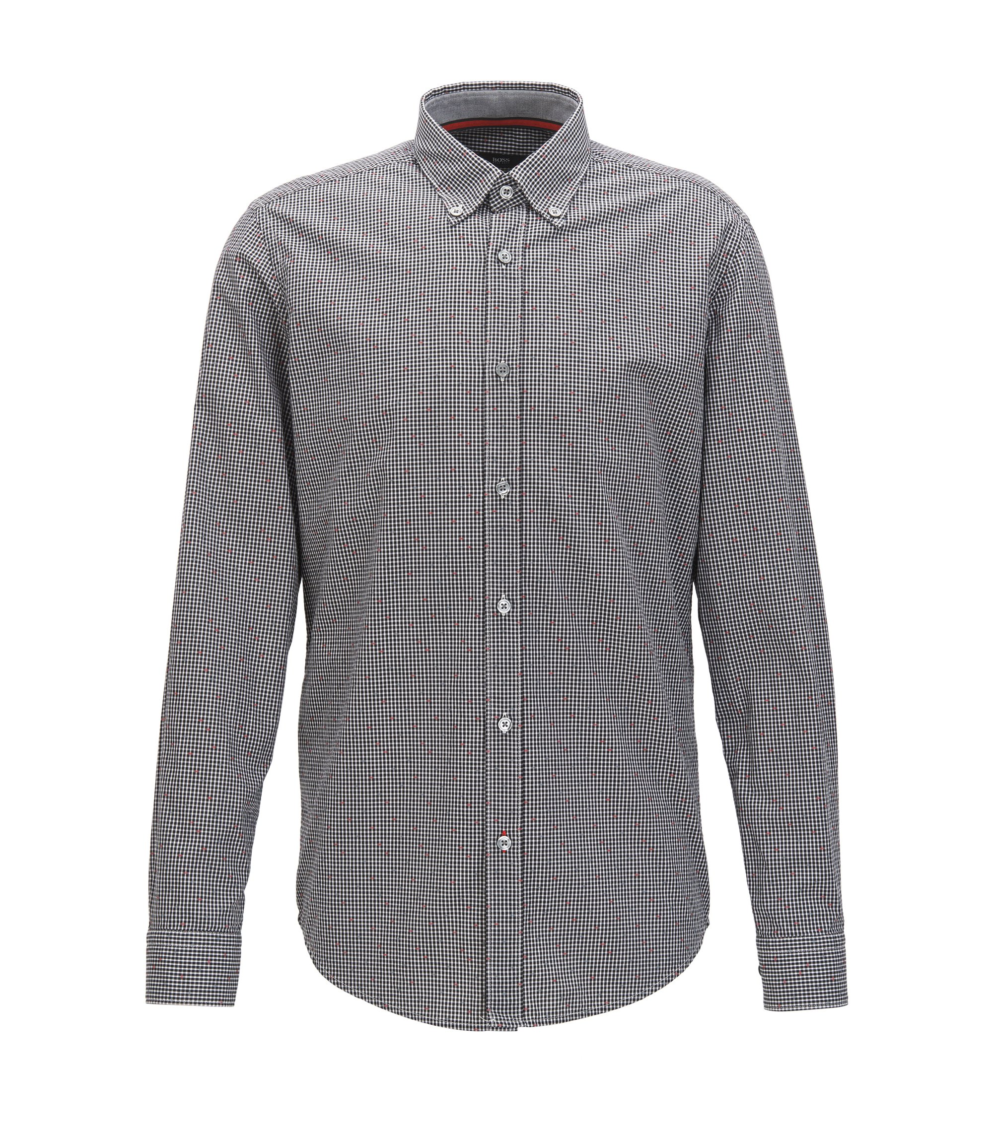 Patterned Cotton Sport Shirt, Regular Fit | Lod, Black